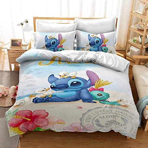 QWAS Stitch - Juego de ropa de cama infantil con diseño de dibujos animados en 3D, adecuado para todas las estaciones, muy suave y cómodo (A4, 140 x 210 cm + 50 x 75 cm x 2)