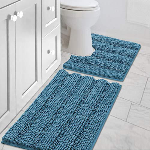 """H.VERSAILTEX Bath Rug Set 2 Piece for Bathroom Non Slip Thick Chenille Bath Rugs Contour and Rectangle, Water Absorbent Fluffy Shag Mats Machine Washable (20"""" x 32"""" Plus 20"""" x 20"""" U, Turquoise)"""