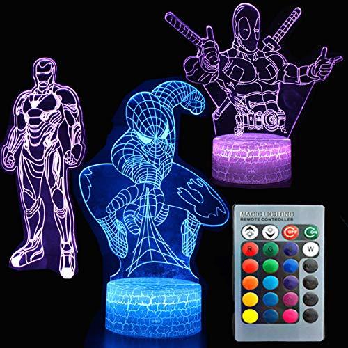 3D Nachtlicht Avengers Touch Tisch Schreibtischlampe Drei Muster Iron Man/Spiderman/Deadpool 7 Farben Optische Täuschungsleuchten mit Acryl-Flach- und ABS-Rissbasis und USB-Kabel für Kinder Kinder