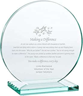 Baudville Engraved Trophy - Jade Glass - Award for Employees - Personalized Engraving Up to Three Lines and Pre-Written Verse Selection - Comes in Gift Box