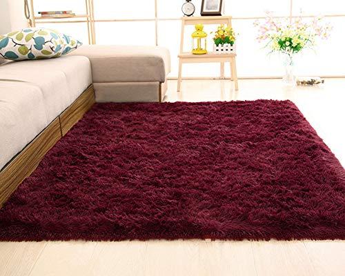Shengwan Shaggy Alfombra de Pelo Larga para Salón Decoración Interior, Soft Antideslizante Sala de Estar Sofá o Dormitorio Alfombras Rojo Vino 50 * 80cm
