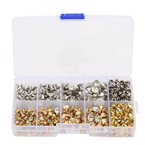 240 piezas de remaches de diamantes de imitación, remaches de tubo de diamantes de imitación…