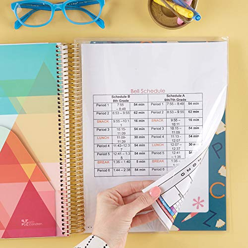 Erin Condren 12 - Month 2020 Teacher Lesson Planner 8.5x11 (January - December 2020) - Kaleidoscope Neutral with List of Subjects Organized Daily, Student Name List with Checklist, and More