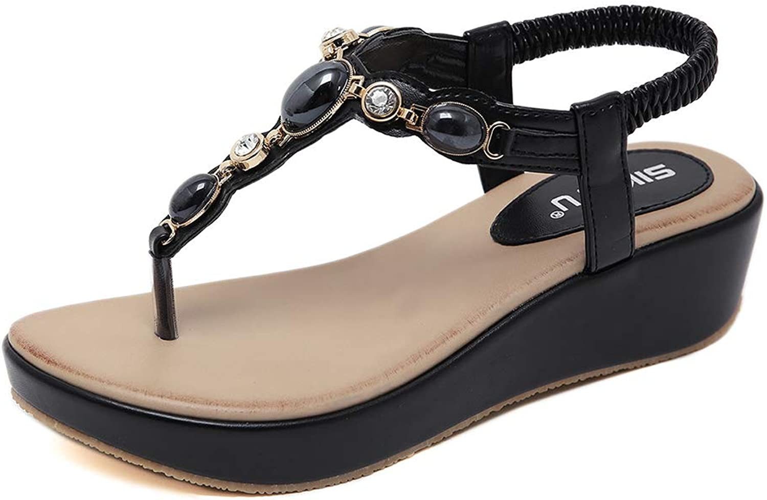 Navoku Womens Leather Jeweled Skidproof Pearls Beach Sandles Thong Sandals