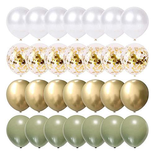 Lesix 80pcs Palloncini Eucalipto, Perla Oro Bianca Coriandoli Palloncino Matrimonio Baby Shower Verde Oliva Decorazioni per Feste di Compleanno