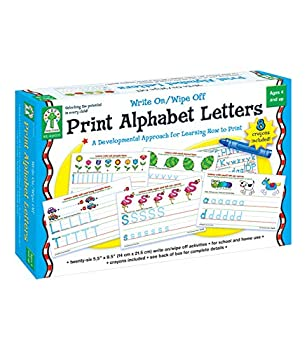 Key Education Write-On/Wipe-Off Print Alphabet Letters—PreK-Grade 1 Handwriting Activity Kit with Tracing Dry Erase Activity Boards and Crayons  34 pc