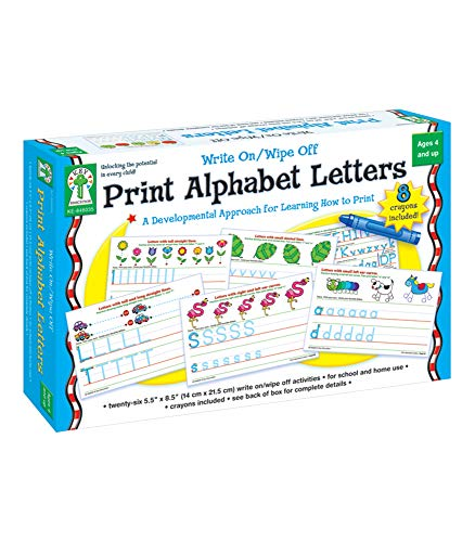 Key Education Write-On/Wipe-Off Print Alphabet Letters—PreK-Grade 1 Handwriting Activity Kit with Tracing Dry Erase Activity Boards and Crayons (34 pc)