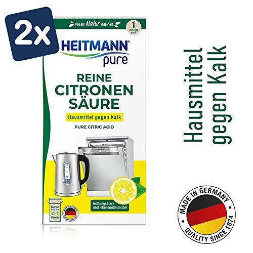 HEITMANN pure Reine Citronensäure: Ökologischer Bio-Entkalker - Pulver, 2x 350 g