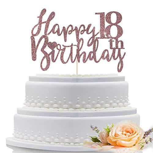 Decoración para tarta de 18 años de feliz cumpleaños de oro rosa para suministros de decoración de fiesta de cumpleaños número 18, decoración de tarta de oro rosa brillante