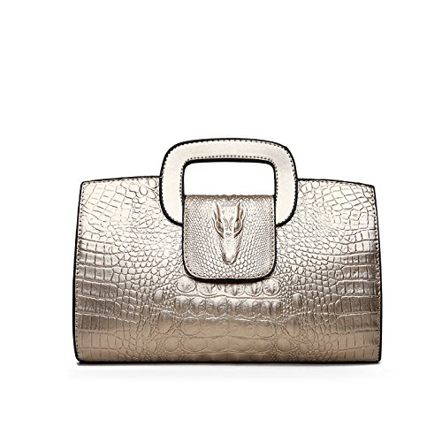 Tisdaini® Damenhandtaschen Mode Kroko Prägung Schultertaschen PU Leder Shopper Umhängetaschen Golden