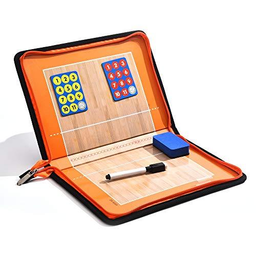 LYY Zipper Folding Volleyball Tactic Board PU Coach Grafik-Teaching-Board Mit Radiergummi, Magneten, Stift Für Volleyball Spiel Teaching Guidance