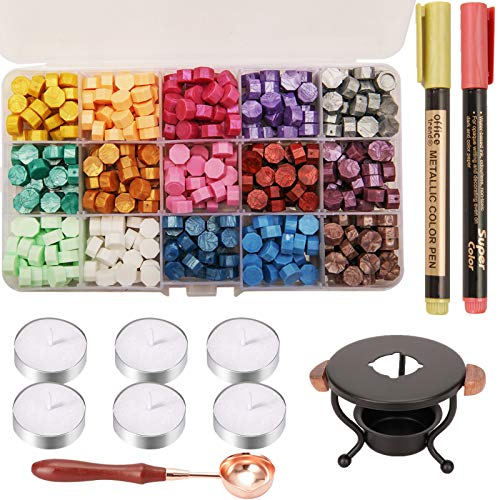 YIPLED Sealing Wax Kit, 310 Pcs Wax Seal Stamp Kit with Wax Seal Beads, 2 Pens, Wax Seal Warmer, Wax Stamp Spoon and Candles for Letter Sealing, Envelopes, Custom Invitations, 15 Colors