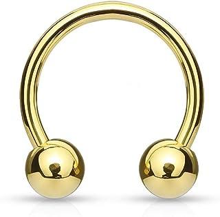 Gold Horseshoe Titanium Piercing Jewelry