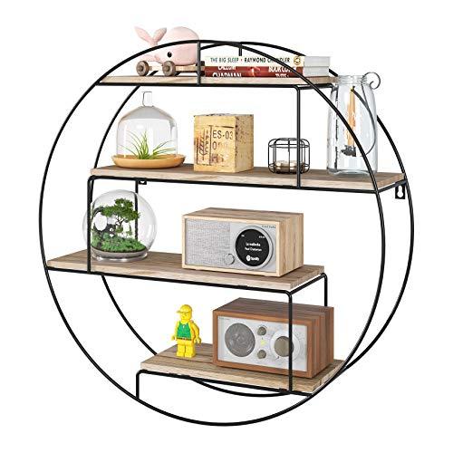 Homfa Wandregal Küchenregal Rund aus Holz und Metall Gewürzregal dekorativ Hängeregal Schweberegal Holzregal mit 4 Böden Vintage im Industrie Design Schwarz 55x55x15cm