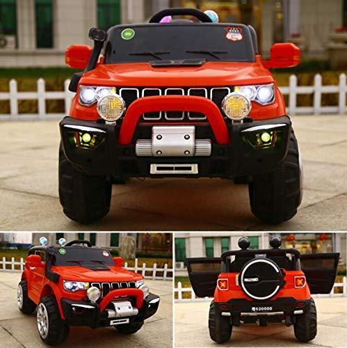 FP-TECH Auto ELETTRICA per Bambini Macchina Jeep 2 POSTI 4WD 12V con Telecomando USB MP3 (Rosso)