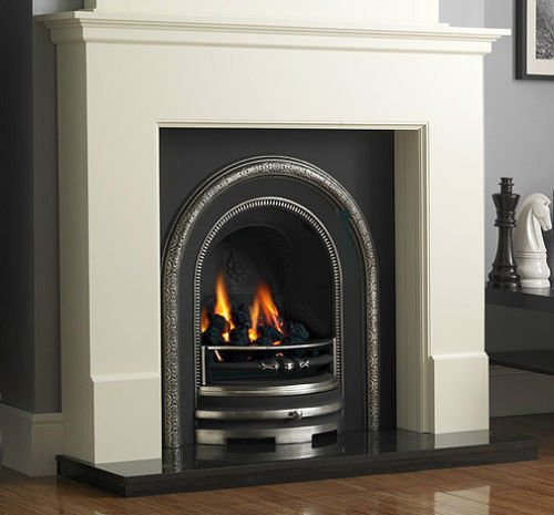Traditional Gas Fireplace Suite: White Surround Cast Iron Back Panel Arch Gas Fire Black Granite Hearth Large