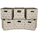 HSDT 6 cajas de almacenamiento, 27x27x28cm, tela gris, canasta de almacenamiento plegable, con dos asas de metal, compatible con organizador de cubos, para organizar artículos diversos, QY-SC08-6