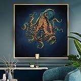 Pinturas de lienzo de pulpo dorado de vida marina, carteles de paisajes oceánicos, impresiones de arte de pared, cuadros modernos para decoración de habitación de acuario, 60x60cm (24x24in) sin marco