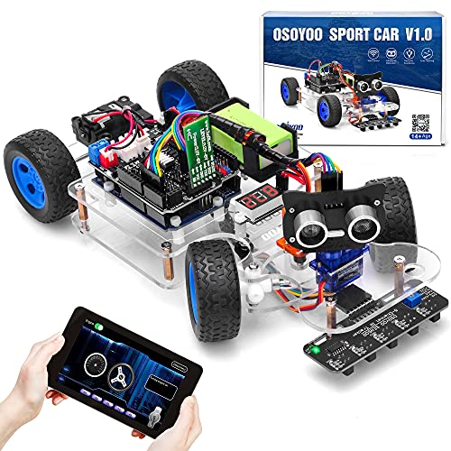 OSOYOO Sport Roboter Smart Car für Arduino UNO   Servo-Lenkstange DIY Kit   Bluetooth Mock Driving   WiFi IOT   Auto Drive   Lernen C++ Computer Programmierung