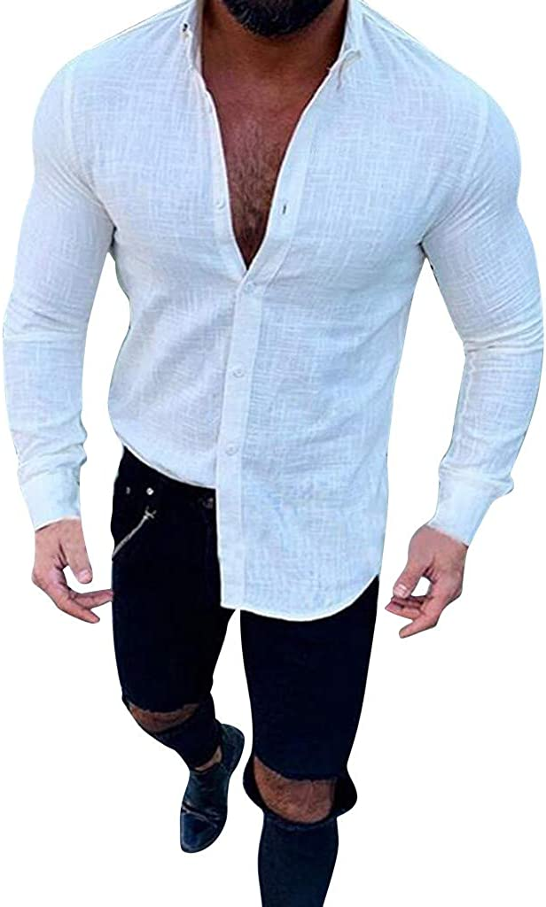 Men's Solid Long Sleeve Casual Button Down Classic Fit Dress Shirt