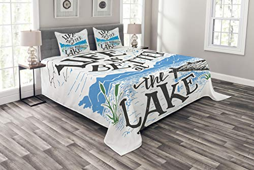 Lunarable Cabin Bedspread, Life is Better at The Lake Wooden Pier Plants Mountains Sketch Art, Decorative Quilted 3 Piece Coverlet Set with 2 Pillow Shams, King Size, Charcoal Grey