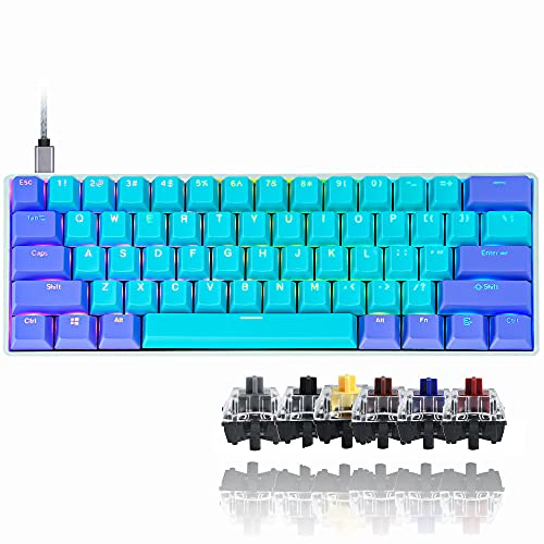 GK61 Mechanical Keyboard 60 Percent SK61 60% Mini RGB Gaming Keyboard with Hot Swappable Silent Red Switch for PC/Win/PS4/Xbox (Gateron Optical Red, Shen2)