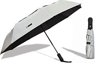 UVDAY Silver Auto Open Close UV Protection Folding Vented Travel Compact Sun Umbrella UPF50+