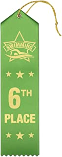 6th Place Swimming Award Ribbons - 25 Count Bundle – Includes Event Card and String – Made in The USA