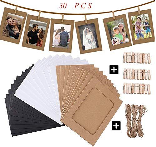 Papier-Bilderrahmen, 15,2 x 10,2 cm, 30 Stück, DIY-Bilderrahmen-Set für mehrere Fotos mit Holzklammern und Schnur, Pappe, Fotorahmen für Geburtstag/Jahrestag/Heimdekoration