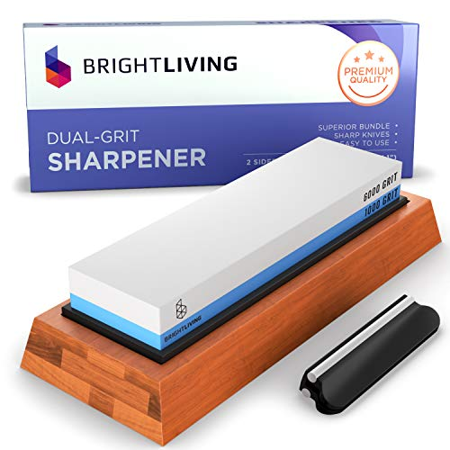 Whetstone Knife Sharpening Stone Set | Dual Grit Whetstone 1000 6000 | Best Kitchen Wet Stone Knife Sharpener Stone | Non-Slip Bamboo Base, Silicone Stone Holder, Angle Guide and eBook Instructions