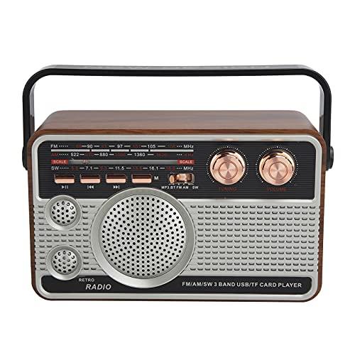 Dilwe Radio portátil Am FM SW, Radio portátil inalámbrica Bluetooth de 3 Bandas Soporte de Altavoz USB Recargable para Disco U/Tarjeta de Memoria