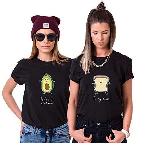 Best Friends Damen T-Shirt BFF Beste Freunde Avocado und Toast (Schwarz, Avocado XXL)