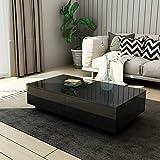 UNDRANDED Moderner Couchtisch Hochglanz mit 4 Schubladen Sofatisch Beistelltisch für Wohnzimmer 95 x 60 x 31cm (Schwarz)