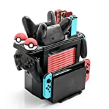 Controller Charger for Nintendo Switch, Charging Dock for Nintendo Switch 2 Joy-Cons, 2 Online NES controllers, 2 Pro Controllers and 2 Poke Ball Plus, Storage Stand for Nintendo Switch Games and Dock