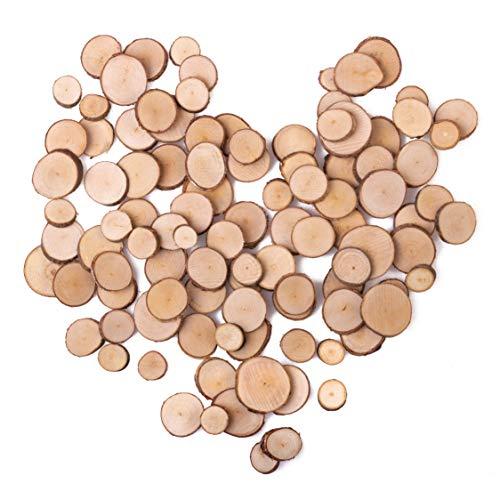 La Wooderie Naturholzscheiben zum Basteln rund 1-3cm Astscheiben Holzscheiben klein und Mini handgesägt für DIY Projekte, Basteln, Weihnachten, Hochzeit, Tischdeko (100...