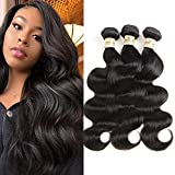 Brazilian Body Wave 3 Bundles Human Hair 100% Unprocessed Human Hair Weave Weft Remy Hair Body Wave 8A Brazilian Hair Bundle Natural Color 300g (12' 14' 16'Inch)
