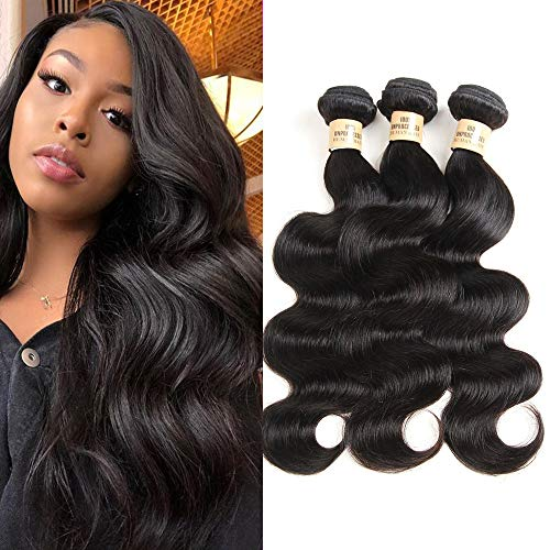 Unprocessed Virgin Brazilian Hair Grade 8A Body Wave Brazilian Human Hair Weave Bundles Natural Black Color (14' 16' 18')