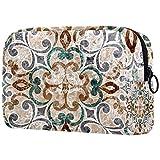Neceser de Maquillaje para Neceser Estuche de Viaje cosmético Organizador Estuche para cosméticos Monedero,Azulejo Italiano Vintage con marroquí