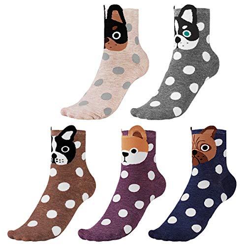 CNNIK 5 Pares Calcetines para mujer, Lindos y novedosos dibujos animados animales patrones calcetines de algodón de punto para damas, multicolor