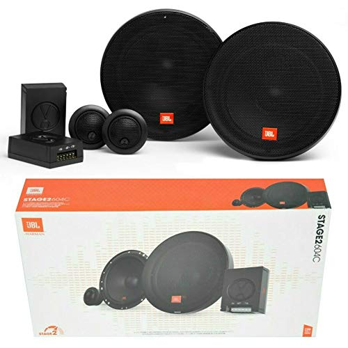 Kit système 2 Voies Compatible JBL STAGE2 604C 6,5' 165 mm 16,50 cm 45 Watts rms 270 Watts Max woofer Tweeter Crossover 4 ohm 91 DB spl Noir, Paire