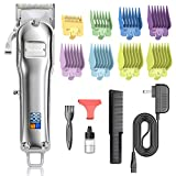 Nicewell Hair Clippers Men's Cordless Hair Trimmer Rechargeable Haircut Kit for Barber and Home Use, LED Display, with 8-piece Guard Attachments