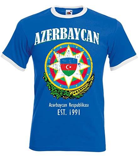 aprom Aserbaidschan Ringer T-Shirt Fußball Trikot D04 Royal (L)