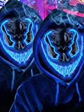 2 Pack Halloween Mask LED Costume Scary Light up Mask with 3 lighting Modes EL Wire for Masquerade Cosplay Party - Halloween Glowing Mask for Men Women Kids