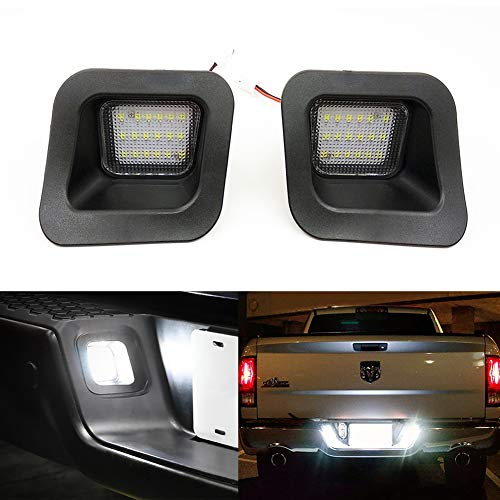 Xinctai 2pcs LED Rear License Plate Lamp Light For 2003 to 2018 Dodge RAM 1500 2500 3500 Pickup Truck, Super White LED Lights, with Canbus and Resistors No Error