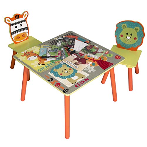 Lestarain Kinderzimmer Kindersitzgruppe Set Kindermöbel, 1 Kindertisch mit 2 Stühle Tiere Motiv für Kinder
