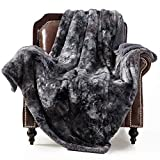 Bedsure Super Soft Fuzzy Faux Fur Reversible Tie-dye Sherpa King Size Throw Blanket for Sofa, Couch and Bed - Plush Fluffy Fleece Blanket (108x90 inches, Dark Grey)