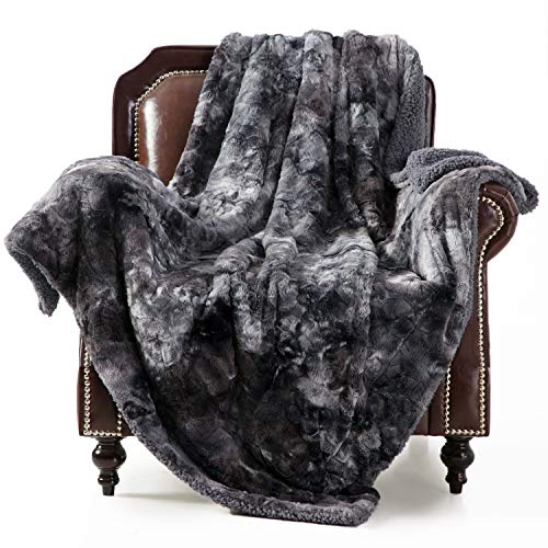 Bedsure Faux Fur Throw Blankets - Super Soft Fuzzy Sherpa Blankets for Sofa, Couch and Bed - Plush Fluffy Fleece Blankets (50x60 inches, Dark Grey)