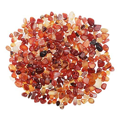 YiYa Rojo Piedra de ágata, Piedra triturada, Piedra Preciosa, Utilizado para la decoración del hogar, llenado de jarrones, decoración de Fondo en macetas para Piscinas (Aproximadamente 310g / Bolsa)