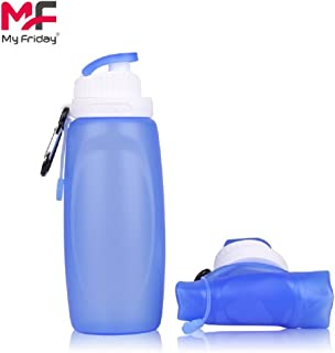MyFriday Foldable Bottle Silicone Sports Water Bottle BPA Free FDA Approved 100% Food Grade Silicone Collapsible Unbreakable Leak Proof Reusable Heatproof Travel Bottle for Kids 11OZ 320ml