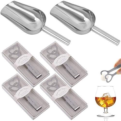 REYOK 4PCS Zucchero a Forma di Cuore Mini Pinza per Caramelle in Acciaio Inox Pinza e 2 Pezzi di Palette per Gelato per servire Argento per la Festa di Compleanno